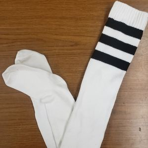 American Apparel Thigh High Socks White Black